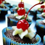 Cream Cheese & Cherries Brownie Cupcakes