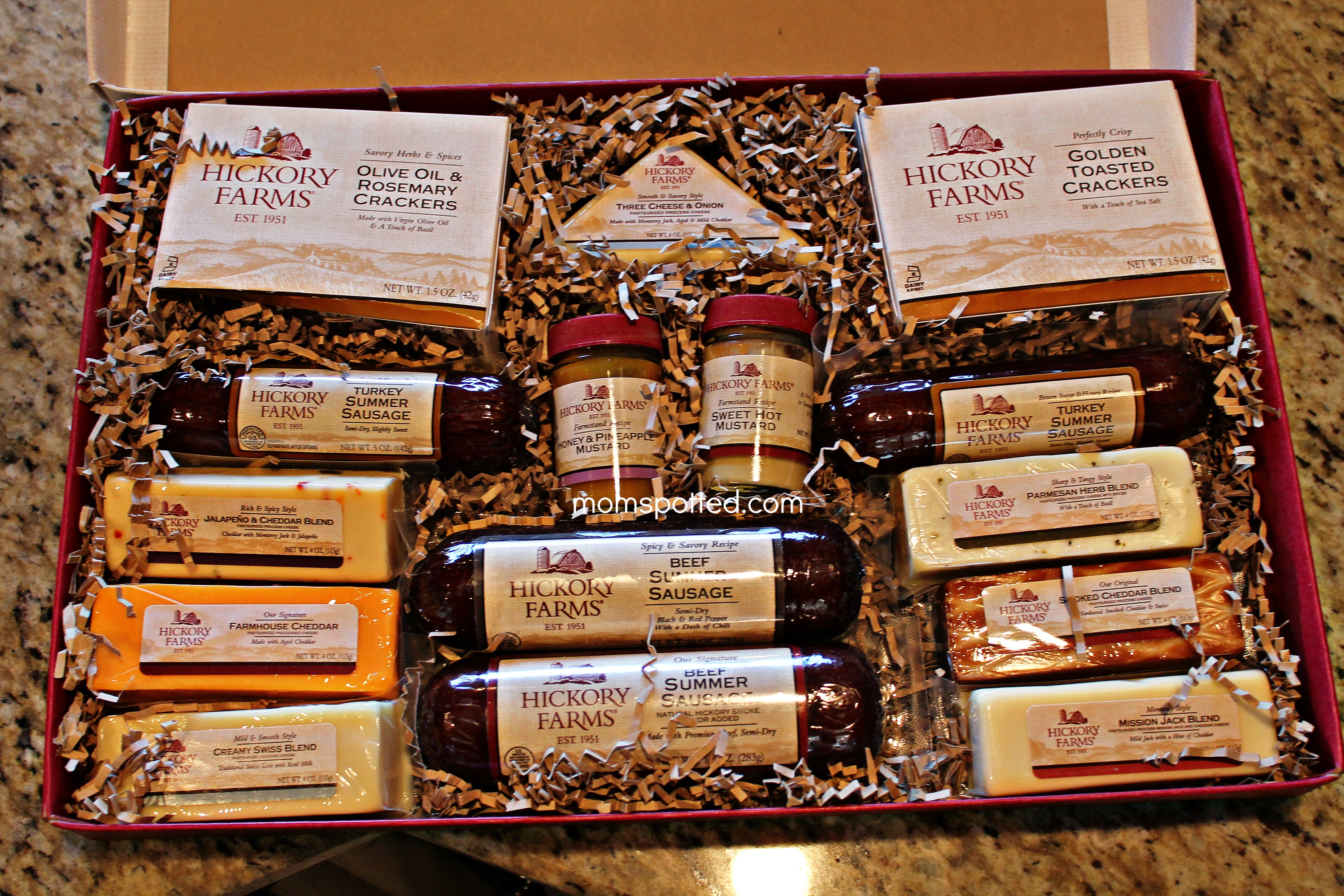 Hickory Farms Home for the Holidays Gift Box Gourmet Sausage and Cheese Gift Basket
