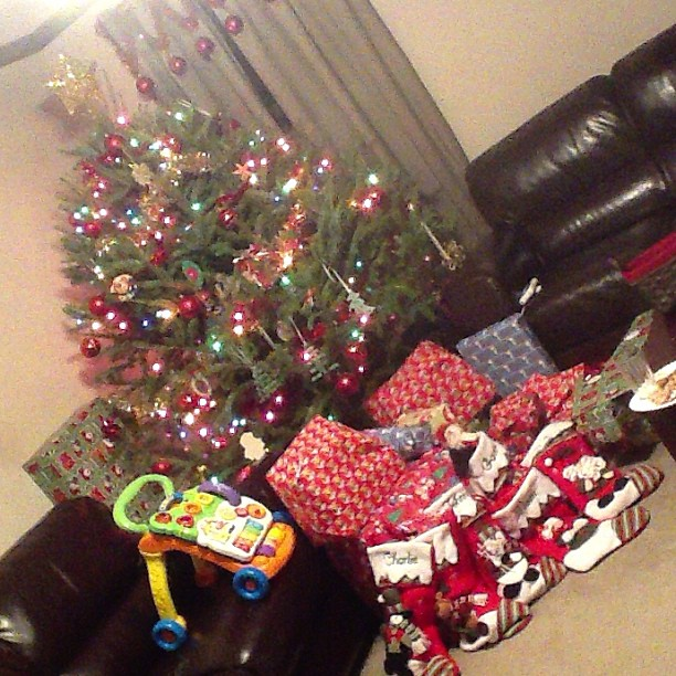 presents under the tree santa came #momspotted