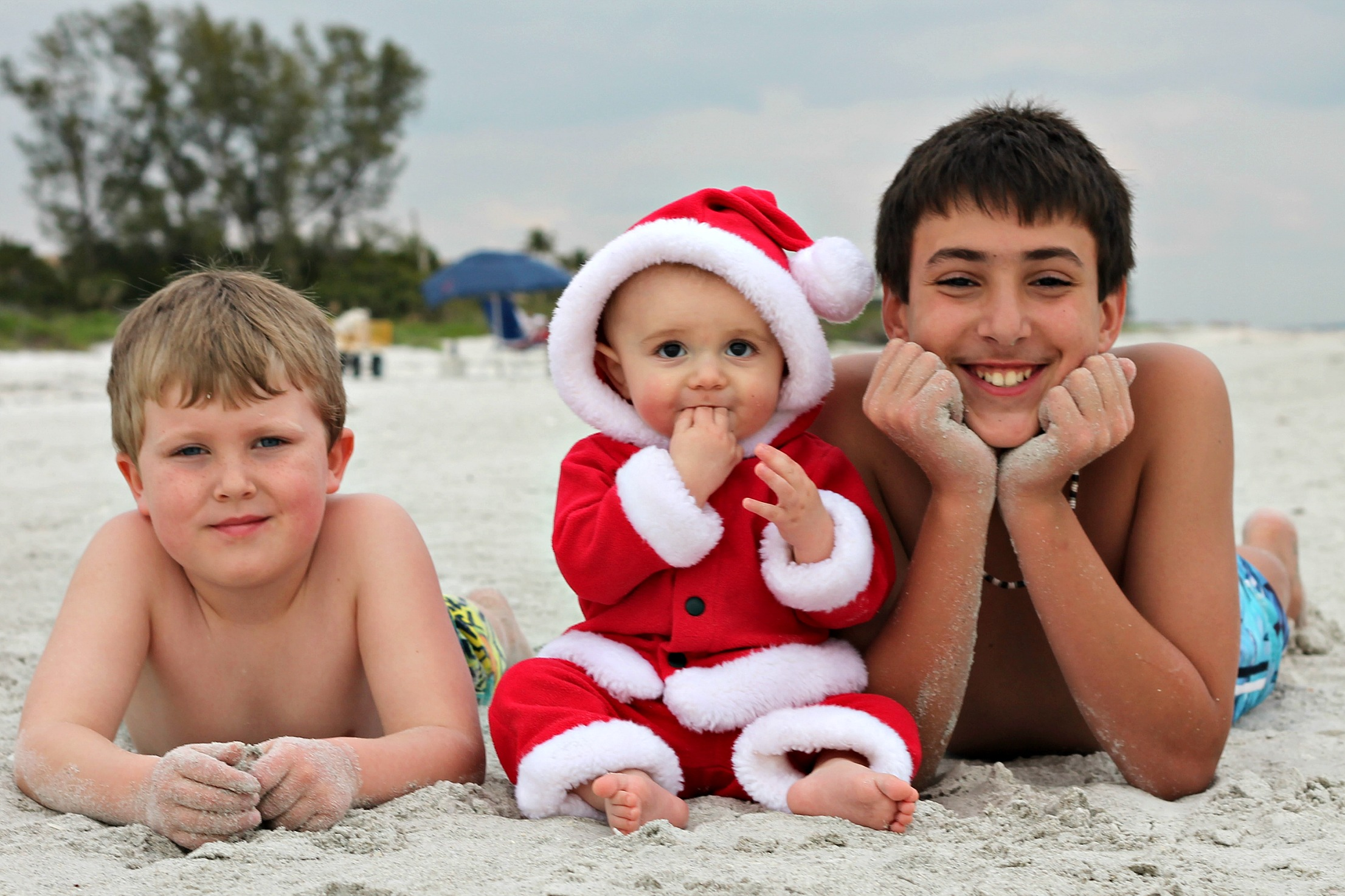 cute kids christmas card idea for santa baby on beach Sanibel Island Beach, Florida