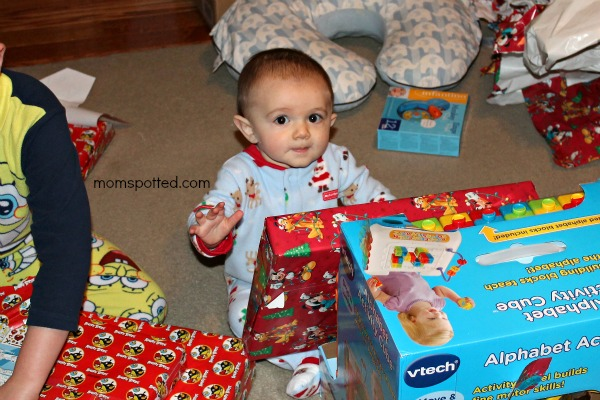 sawyer on his 1st christmas morning #momspotted