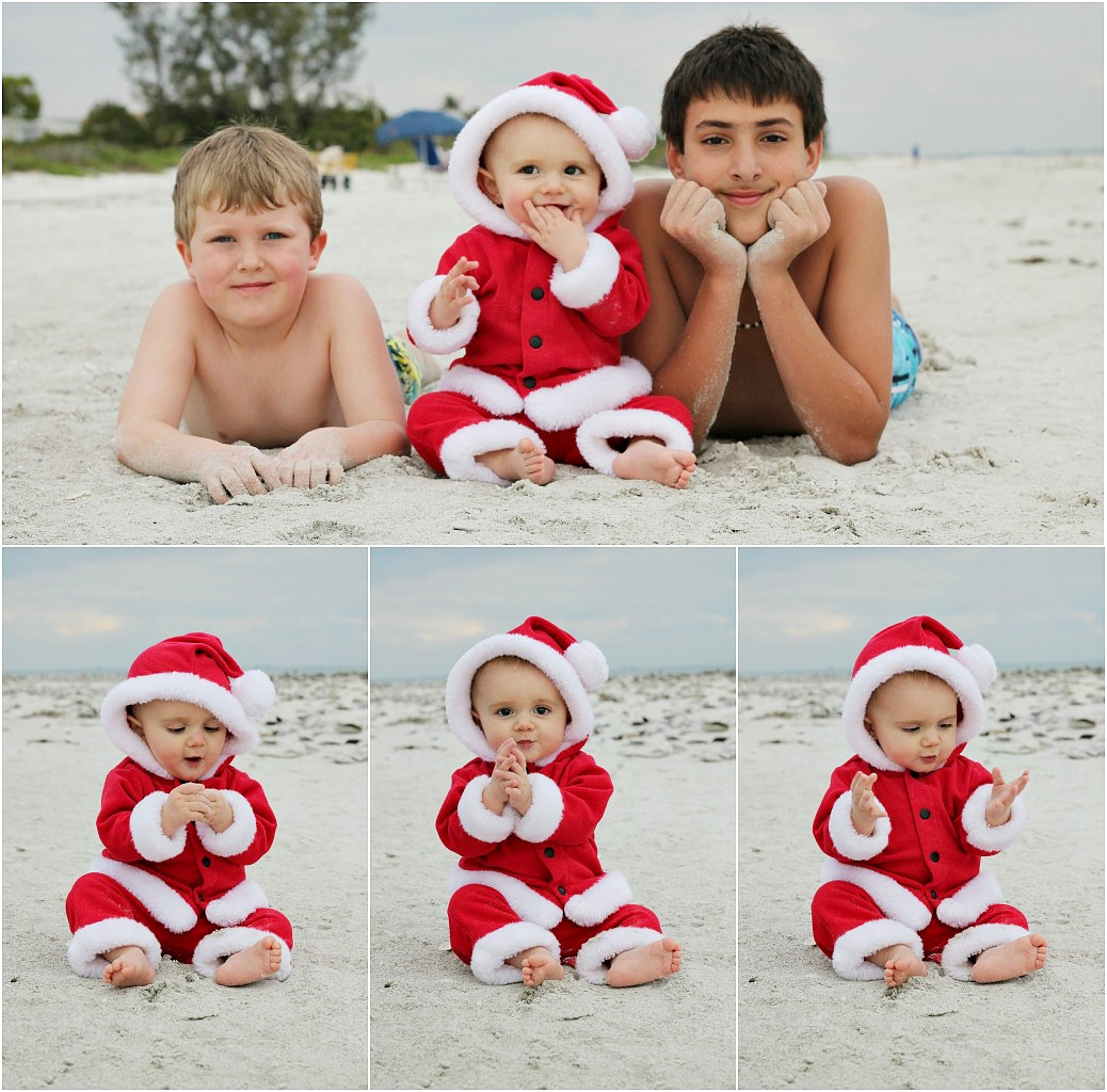 momspotted christmas card santa baby on beach with brothers on ...