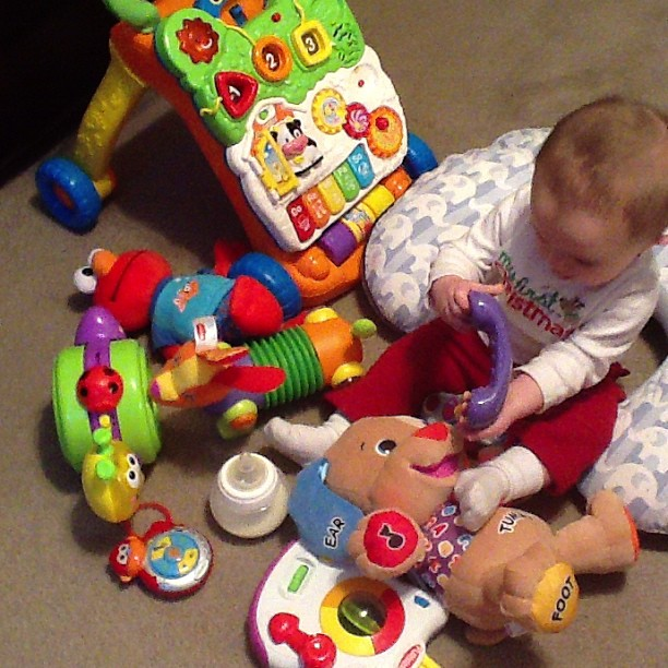 sawyer playing with all his new toys #momspotted