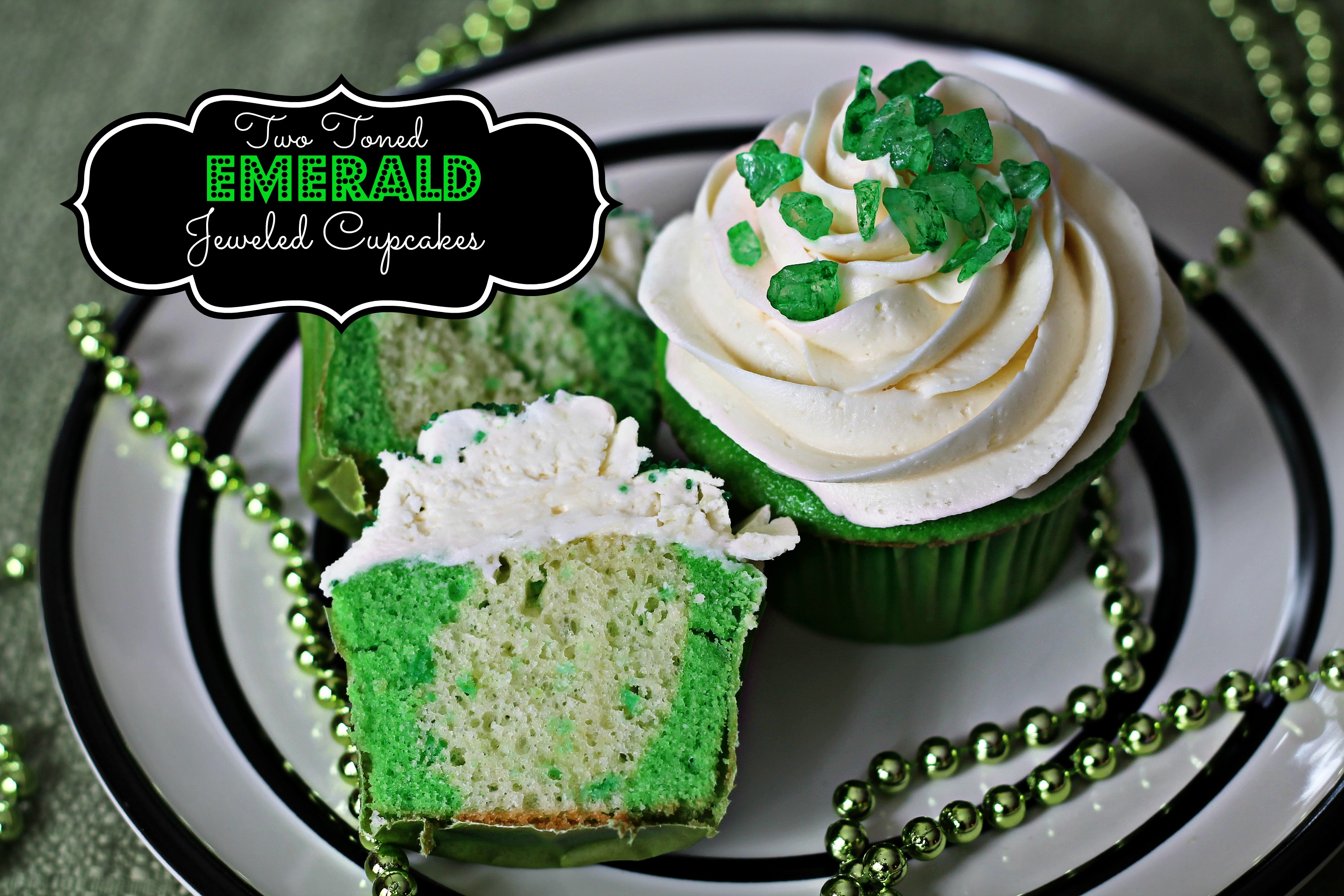 Two Toned Emerald Jeweled Cupcakes