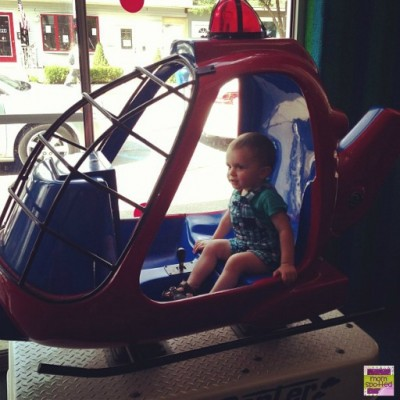 Sawyer's 1st arcade ride helicopter