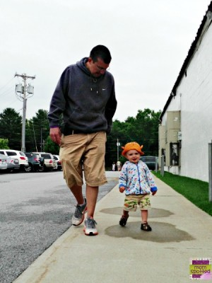 daddy & Sawyer walking together Gymboree & Zutano