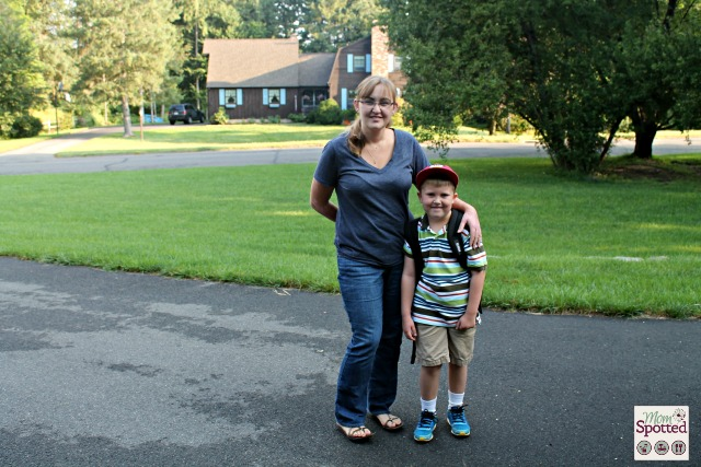 Gavin first day of 2nd grade with mom