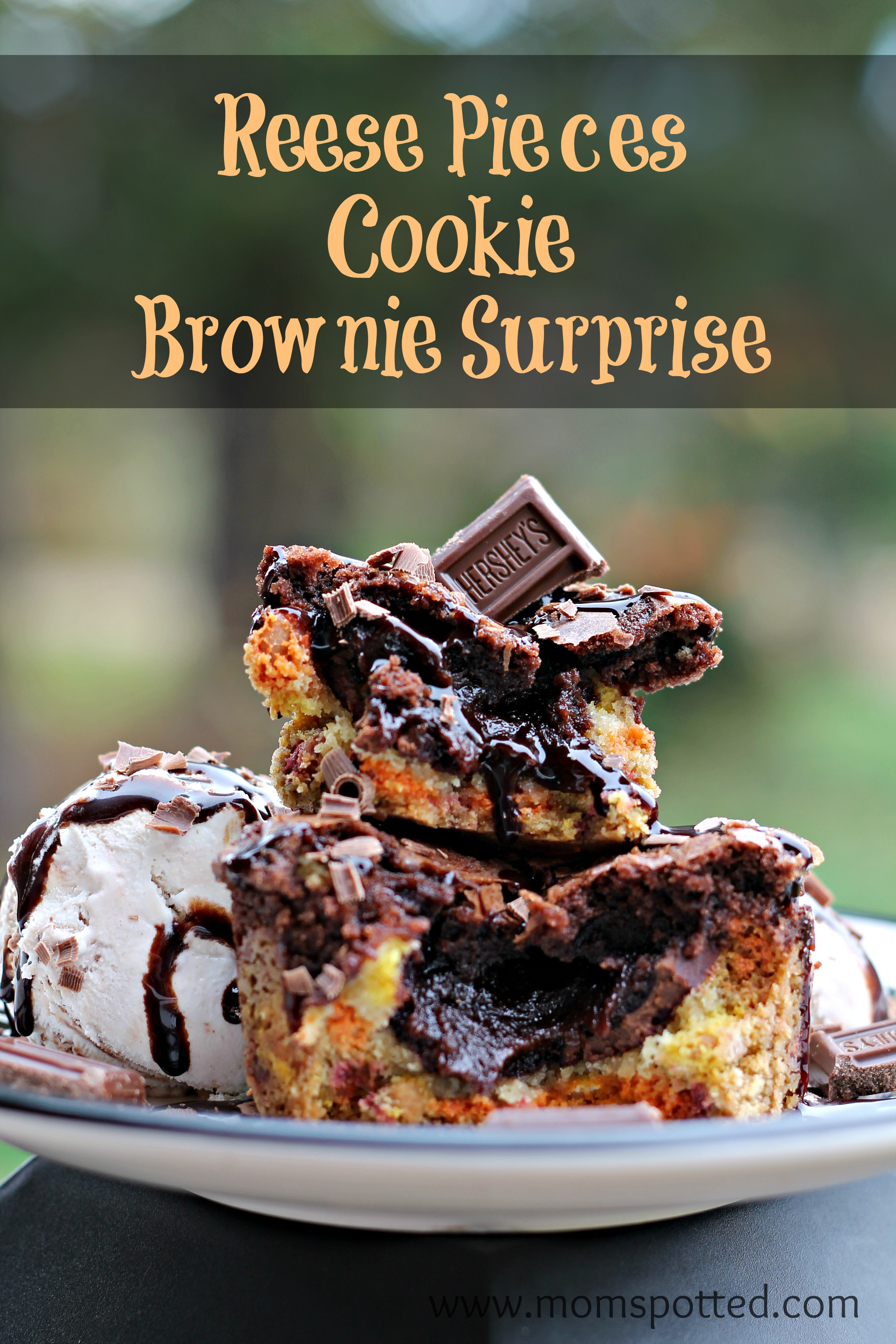 Got Candy? Make our Reese's Pieces Cookie Brownie Surprise Recipe! #HersheysHalloween #momspotted