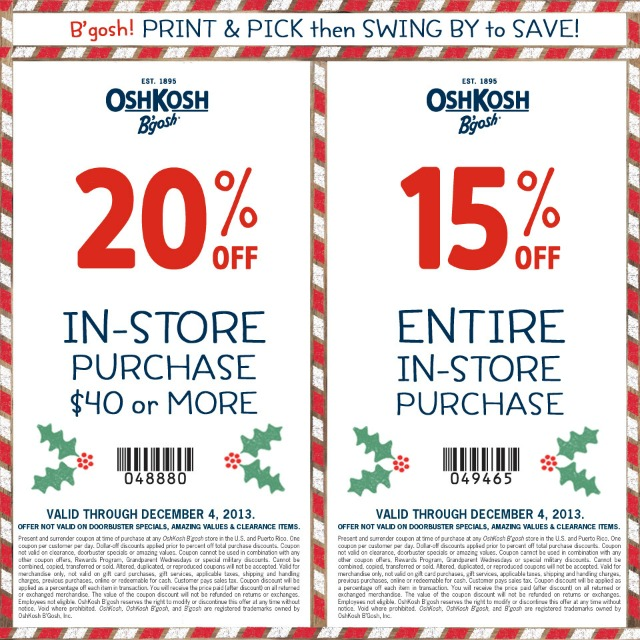 Oshkosh coupon codes december 2018