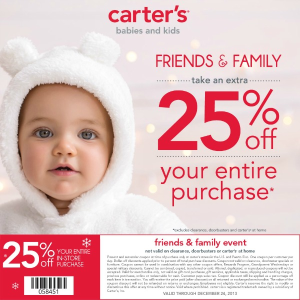 MCC Carter's Friends & Family Coupon