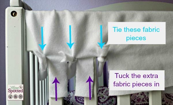 no sew fleece tied teething crib rail cover tutorial momspotted