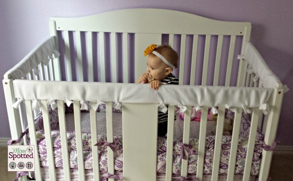 No Sew Fleece Tied Teething Crib Rail Cover Tutorial