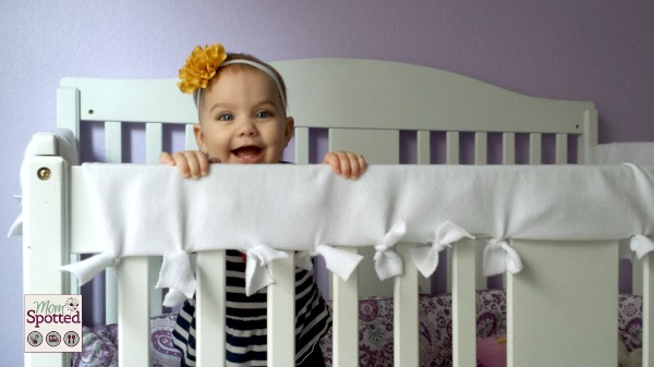 No Sew Fleece Tied Teething Crib Rail Cover Tutorial