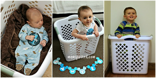 TWO Sawyer James Laundry Basket Milestone