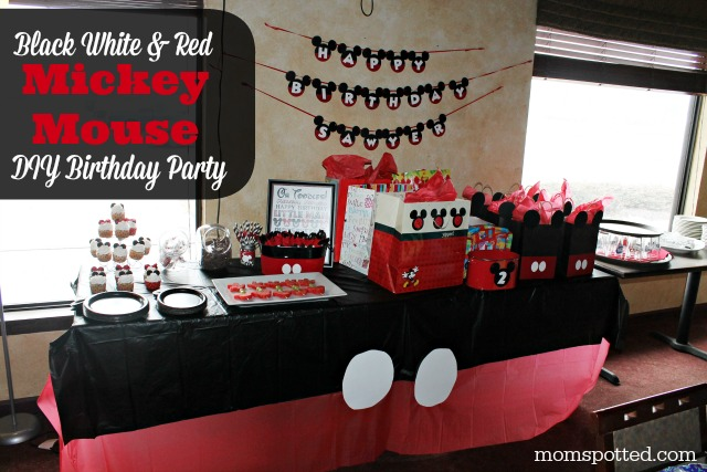Black White & Red Mickey & Minnie Mouse DIY Birthday Party {Sawyers 2nd Birthday Party} #momspotted