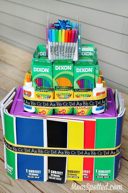 Classroom Raffle Ideas ~ School supply cake tutorial for teacher gift mom spotted