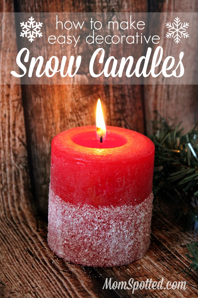How to Make Easy Decorative Snow Candles #FunCraftsWithMom Craft Tutorial found on momspotted.com