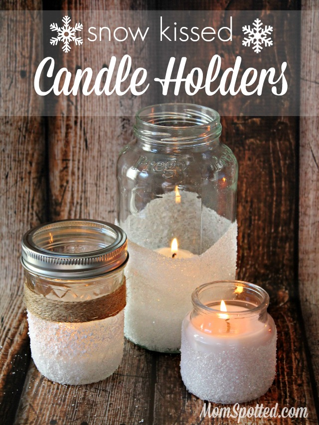 How to make easy decorative snow kissed candle holders diy mason jar