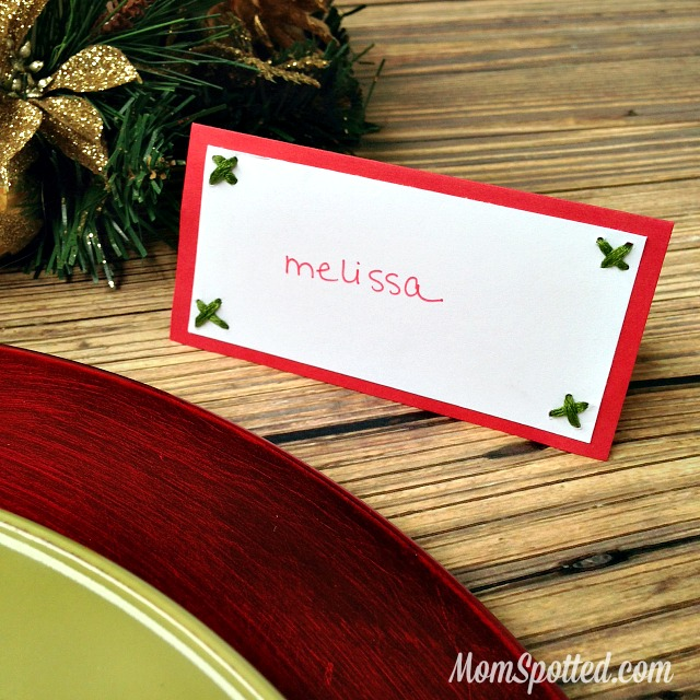 Hand Stitched Personalized Handmade Holiday Place Cards found on momspotted.com