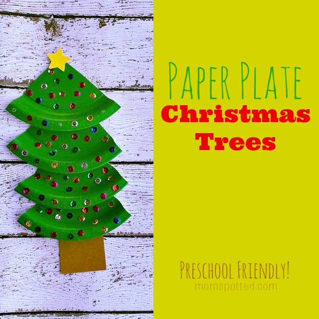sc 1 st  Mom Spotted & Paper Plate Christmas Trees Kid Friendly Holiday Craft