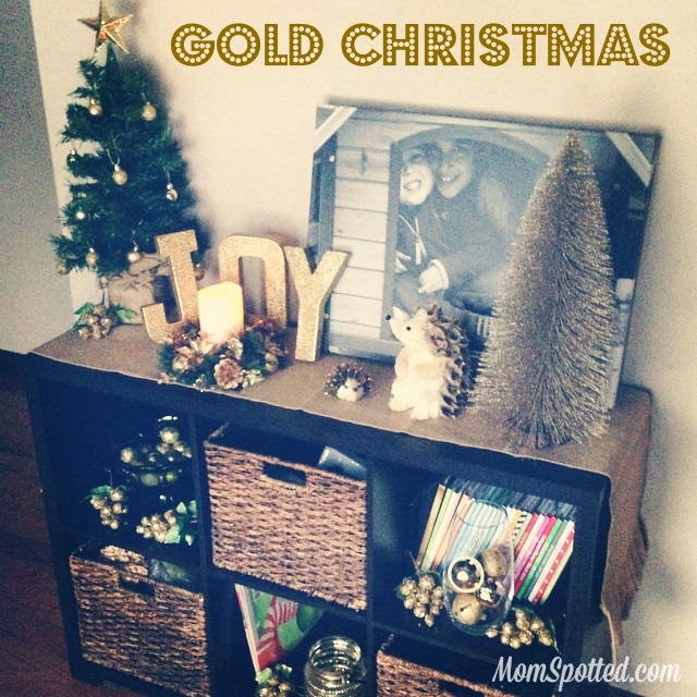 Make Your Own Gold Glittery Christmas Letter Decoration tutorial found on momspotted.com glitter, modge podge, christmas decor