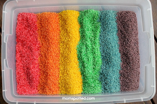 Make Your Own Rainbow Rice for Sensory Play {Fun Crafts With Mom}