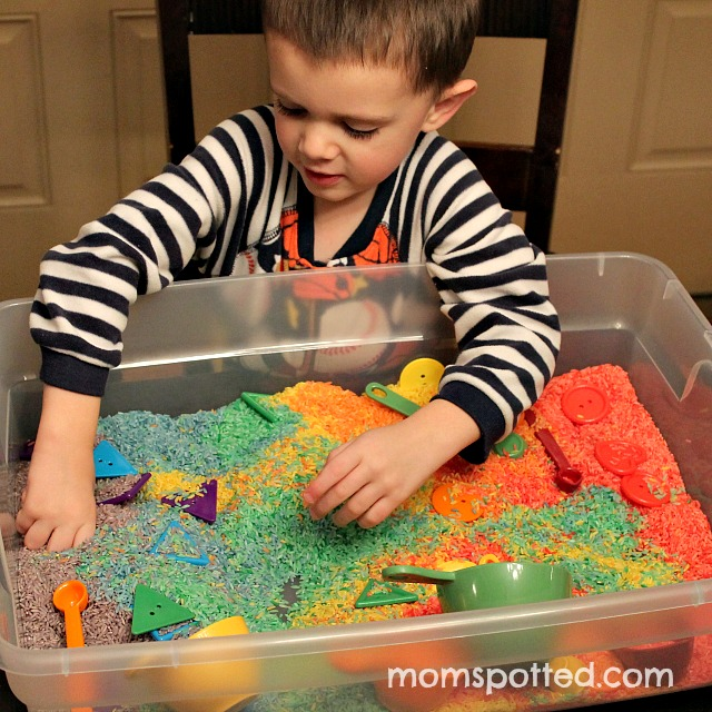 Make Your Own Rainbow Rice for Sensory Play {Fun Crafts With Mom} Sensory Tub with Sawyer