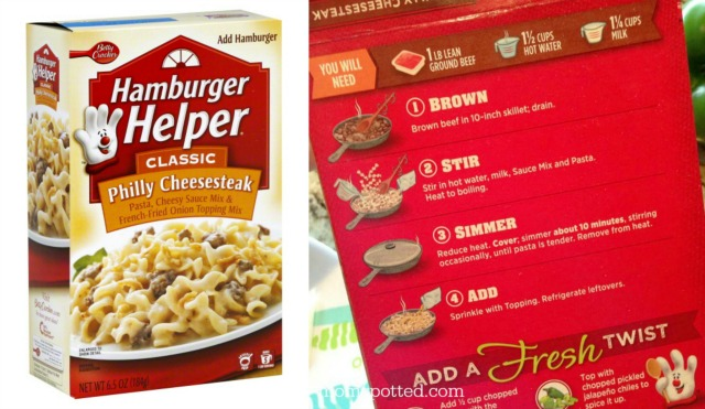 Hamburger Helper Philly Cheesesteak Collage