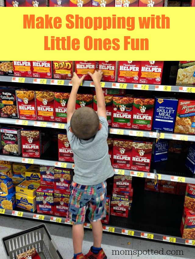 Sawyer picking out Hamburger Helper at    Walmart