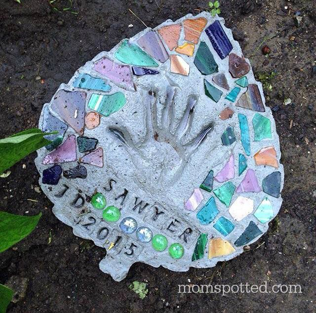 Kids Autumn Handprint Stepping Stone for Garden