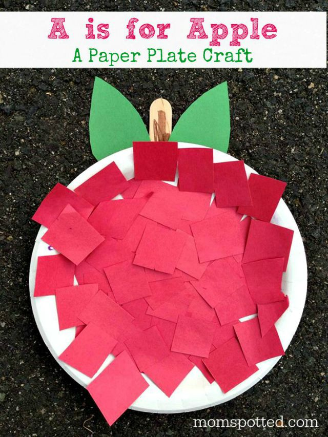 A is for Apple! An Apple Paper Plate Craft! Fun Autumn Preschool Project on momspotted.com #FunCraftsWithMom