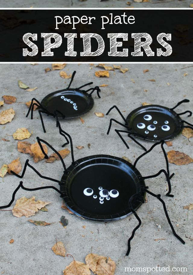 Halloween Paper Plate Spiders Craft Perfect for Preschoolers #funcraftswithmom