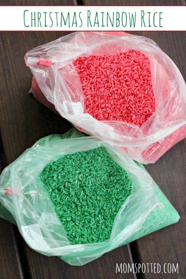 Preschool Christmas Rainbow Rice {Fun Crafts with Mom}