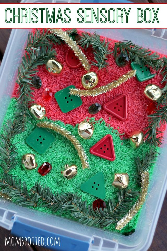 Preschool Christmas Sensory Bin Using Rainbow Rice {#FunCraftsWithMom}