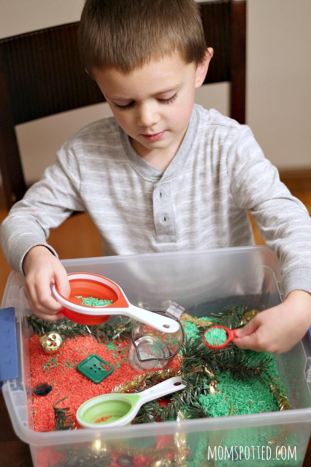 Preschool Christmas Sensory Bin Using Rainbow Rice {Fun Crafts with Mom}