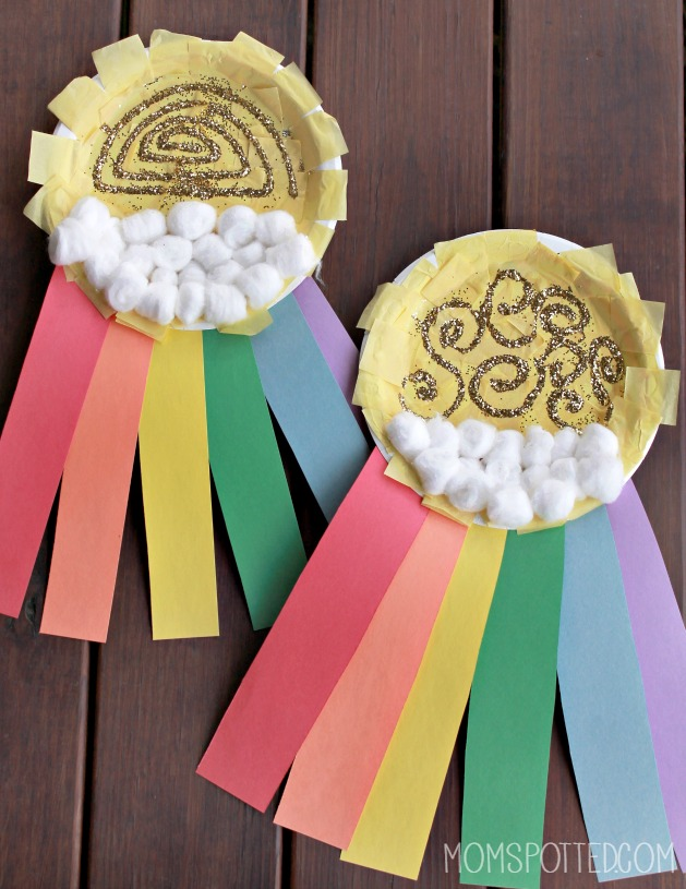 Rainbow Sun Clouds Paper Plate Craft
