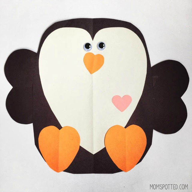 Penguin Valentine Heart-Shaped Craft - Mom Spotted