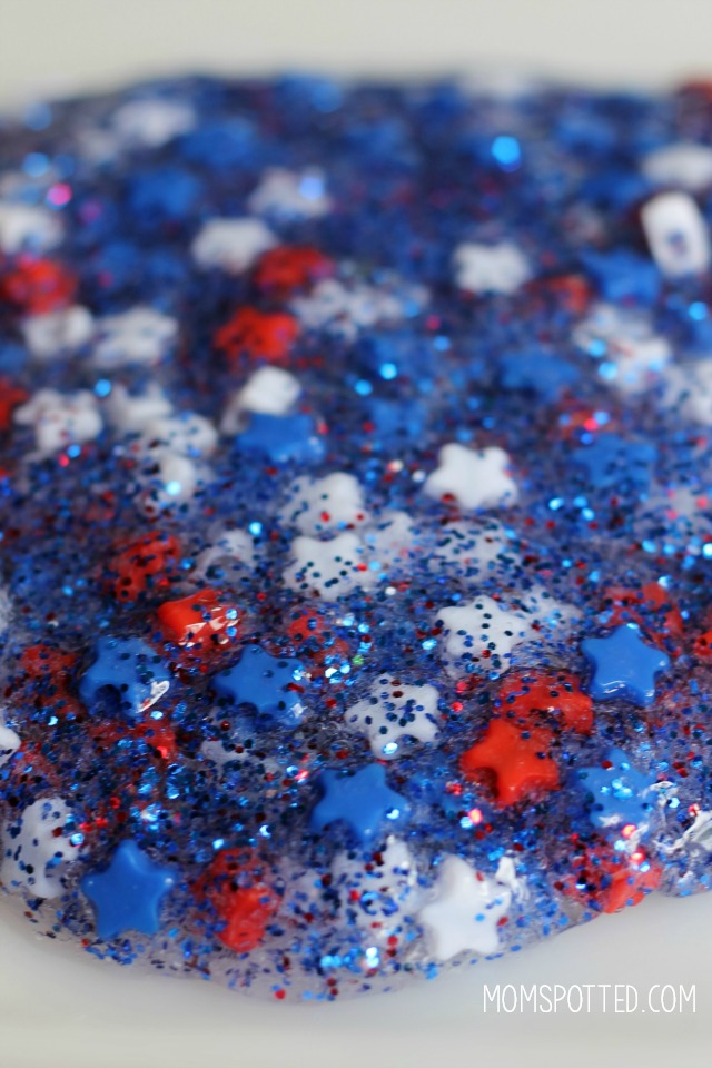 Red White & Blue Glitter Slime