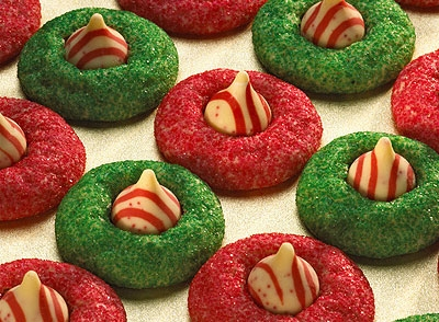Hershey Kisses Candy Cane Blossom Cookies Recipe