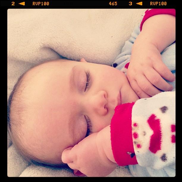 Sweet sleeping Sawyer long lashes baby #momspotted