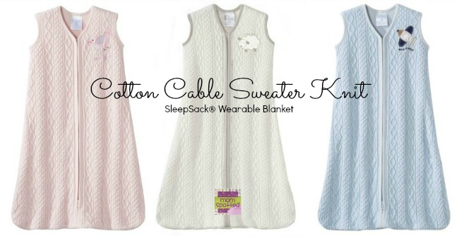 Cotton Cable Sweater Knit SleepSack® Wearable Blanket #momspotted Collage
