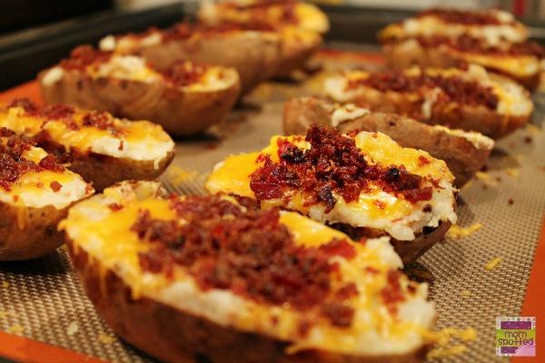 Bacon Loaded Twice Baked Potato Skins