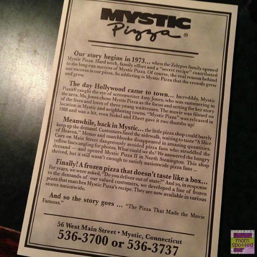 Mystic Pizza in Mystic CT Menu