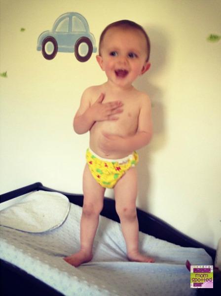 Sawyer in cloth swim diaper speedo