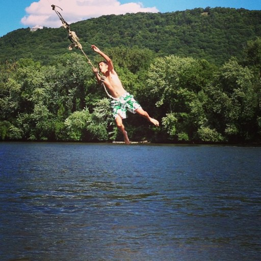 Johnny on Rope Swin on Connecticut River Mitchs Island on boat western ma