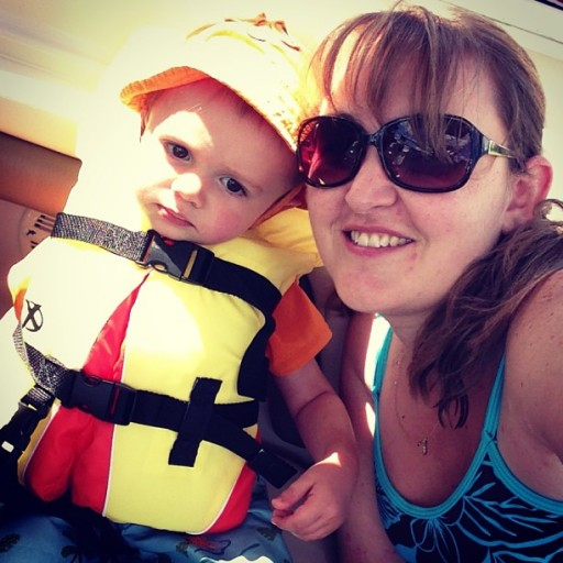 mommy & sawyer on boat me momspotted