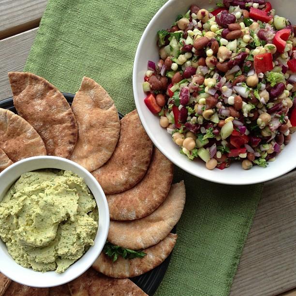 Three Bean Veggie Salad with Whole Wheat Pitas & Lemon Garlic Hummas #Recipe