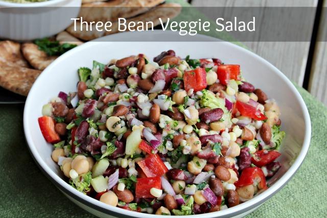 Three Bean Veggie Salad #Recipe