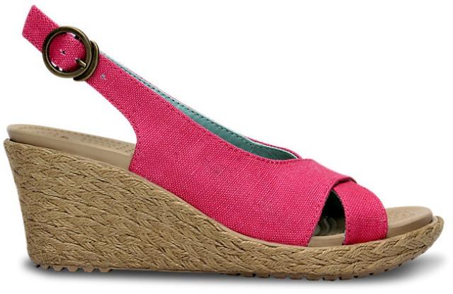 crocs  Women's A-Leigh Linen Wedge