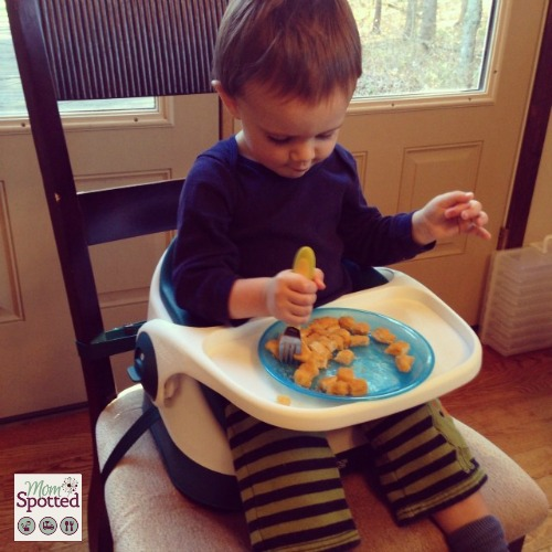 Mamas & Papas Baby Bud Booster Seat alone Sawyer eating